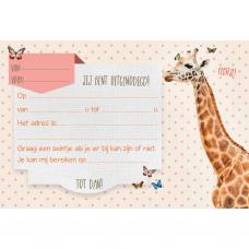 Set van 5 uitnodigingskaartjes + omslagen - Giraf